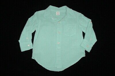 EUC Baby GAP Boys Robins Egg Blue Linen Button Down Dress Shirt 12-18 M
