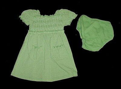 EUC Baby GAP Girls SPRING BLOOM Green Polka Dot Smocked Dress 12-18 M VHTF