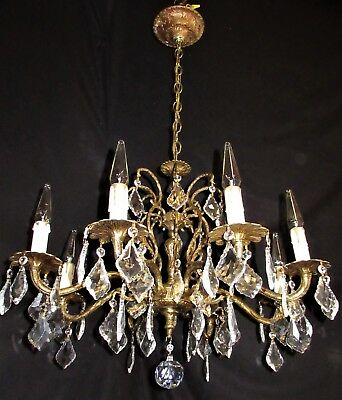 VTG DECO ERA FRENCH SPAIN CRYSTALS CUST BRASS CHANDELIER CEILING FIXTURE 1950's