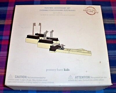 Pottery Barn Kids Electric Accessory Wooden Train Set Works w/ BRIO & Thomas NEW