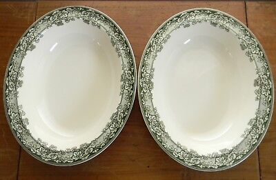 """Two Wedgwood KENT Green Vine 11"""" OVAL VEGETABLE BOWLS Williams Sonoma England"""