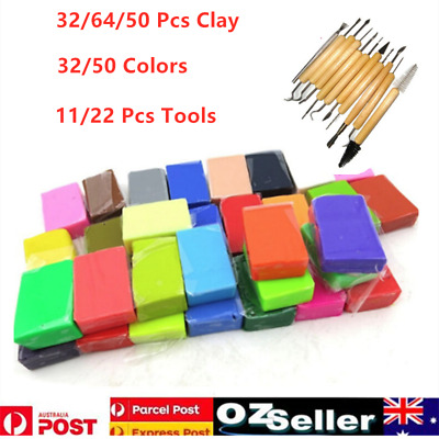 64/32/50 Pcs Craft Polymer Clay Modelling DIY Toy Oven Bake 32/50 Colors