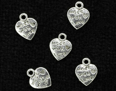 10mm Antique Silver Made with Love Heart Charms for Crafts - 20pk