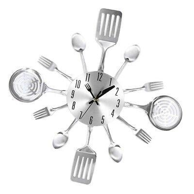 Kitchen Cutlery Wall Clock with Forks and Spoons for Home Decor Silent Non