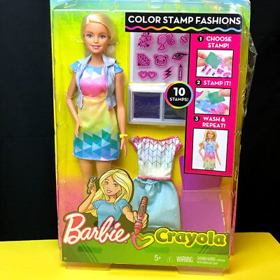 Barbie Crayola Color Stamp Fashions Set w/ accessories - Blonde - NEW