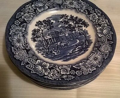 "Liberty Blue 7 Cake/bread Plates 6"" Historic Staffordshire Ironstone Monticello"
