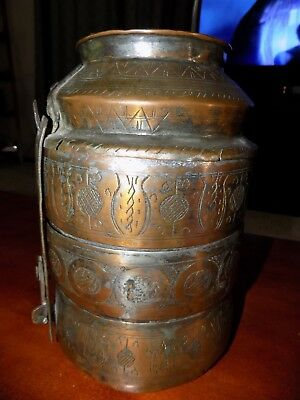 Vintage / Antique Tiffin / Dabbas Style Carrier Lunch Box Copper Etched Handmade