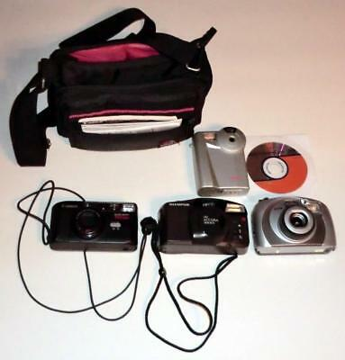 (4) Older Cameras (Film: Canon/Olympus/Argus, 1 Digital)+Coast Case FREE SHIP'NG