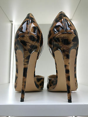 13cm Sexy sky high heels patent  leopard pumps low cut fetish high heels US12 43