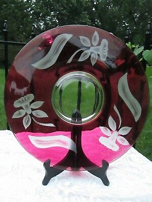 Vintage Cranberry Flash Stained Glass Cake Plate etched Daffodil Flowers 14.5""