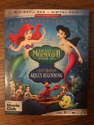 The Little Mermaid II + Ariel's Beginning (BluRay + DVD + Digital Code) 2019 NEW