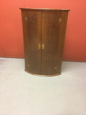 Antique Bow Fronted Oak Wall Hanging Corner Cupbard Sn-187a