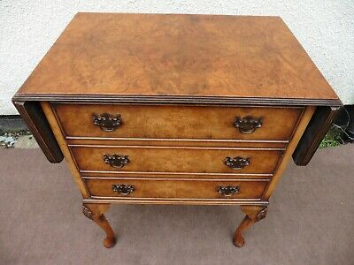 Antique Style Small Walnut Chest Of Drawers, 3 Drawers + Twin Flaps To The Top.