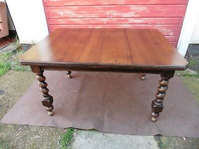 Antique Edwardian Solid Oak Barley Twist Leg Dining Table / Kitchen Table, C1920