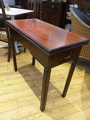 MAHOGANY tea table ANTIQUE GEORGIAN / late 18th century foldover top with drawer