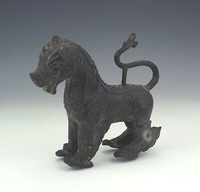 Antique Chinese Oriental Patinated Bronze Kylin Dragon Dog Figure - Early!