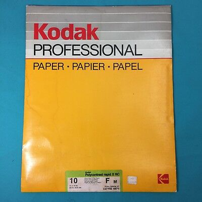 "Kodak 10 sheets - 11x14"" in. Polycontrast Rapid II RC F M B&W Glossy Photo Paper"