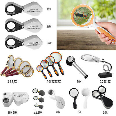 Pocket Jewellers Eye Loupe Magnifier LED Handy Reading Magnifying Glass 2.25-60x