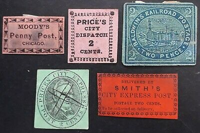 RARE c.1850s United States lot of 5 Local City Post stamps Mint & Used