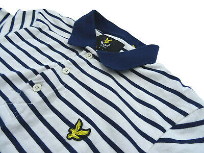 WHITE & NAVY BLUE COTTON SHORT SLEEVED STRIPED POLO T-SHIRT by LYLE & SCOTT (S)