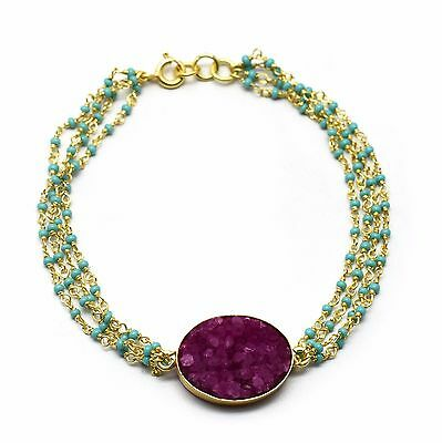 36ca0fcb0 925 STERLING SILVER TURQUOISE & DRUZY GEMSTONE BEADED GOLD PLATED BrCEALETS