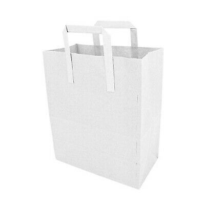 Small - White Kraft Paper Sos Food Carrier Bags With Handles -Party Takeaway-