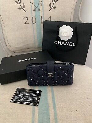 ea84be5a3ad28b Chanel Mini Wallet Purse Clutch In Blue With Studded Detail Excellent  Condition