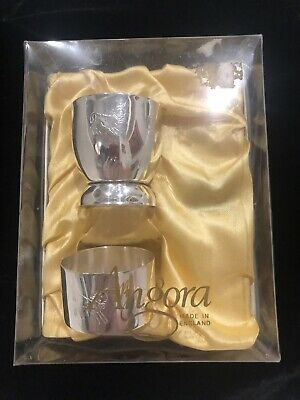 Vintage Aurora Christening Baptism Silver Plate Egg Cup Napkin Ring Collectable