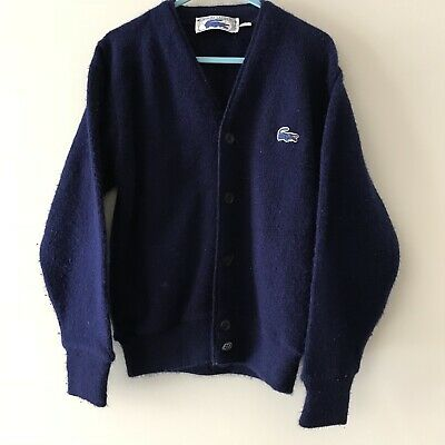 Vintage Kids Lacoste Designer French Knitted Blue Cute Cardigan Preppy 4-5 Y