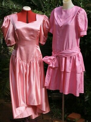 Vintage 1980s 2 X  FORMAL DRESSES  PINK Taffeta Party time, sizes10-14 Bargin!