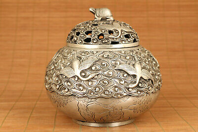 big chinese old tibet silver hand carved buddha incense burner
