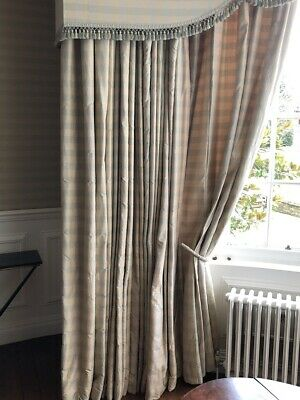 Enormous Long and Wide Silk Pinch Pleat Interlined Curtains W798 D305