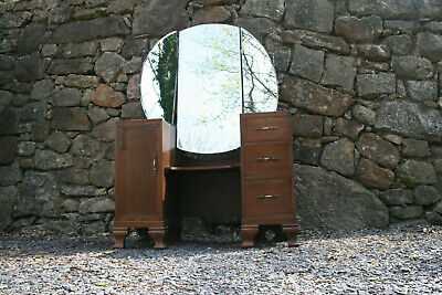 Oak Dressing Table Art Deco Style Excellent Condition - Free Bed Side Cabinet