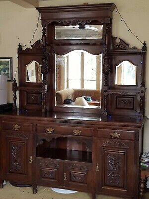 Large  Antique Victorian Mirror Backed Sideboard