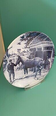 """Delft Blauw 1984 Ter Steege BV: Farrier Shoeing a Horse: Display Tea Plate 6.5"""""""