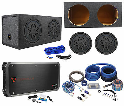 "2) Kicker 44CVX124 CVX 12"" 3000w Car Subwoofers+Sealed Sub Box+Amplifier+Amp Kit"