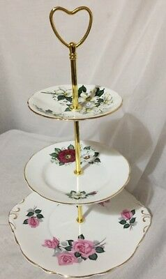 Vintage Cake Stand 3 Tier Beautiful Bespoke Floral Patterns Handmade VGC