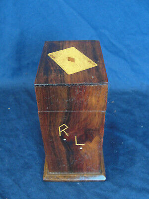 Vintage 1950s Inlaid Marquetry Teak Wood Playing Card Box