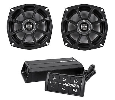 "Kicker 10PS52504 5.25"" Harley Davidson Motorcycle Speakers+Bluetooth Amp+Control"