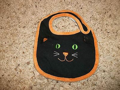 "Girls ""First Moments"" Black Halloween Cat Bib One Size"