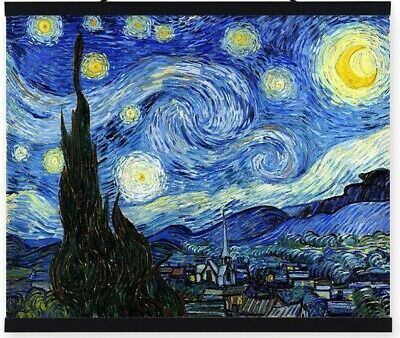 36x48 STRETCHED MUSEUM QUALITY Oil Hand-painted Starry Night Vincent Van Gogh