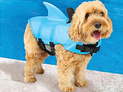New SwimWays Sea Squirts Doggie Swim Boat Vest Jacket, Blue w/Fin Handles M