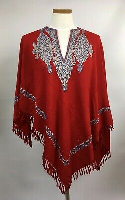 Fabulous 40s 50s Red Embroidered Wool Evening Festival Shawl / Poncho