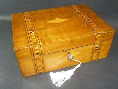 Antique Tunbridge Banded Desk Top Box Working Lock & Key c1880  Boxwood Center