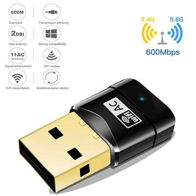 600 Mbps USB Dual Band Wireless Adapter 2.4-5ghz WiFi Dongle 802.11 AC USB 2.0