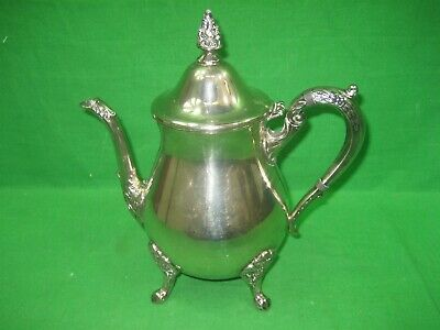 Vintage Antique Silver Plated Metal Four Footed Teapot Intricate Details