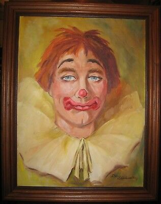 A Handsome Sad Happy Clown Original Oil Painting on Canvas Signed 28 x 22