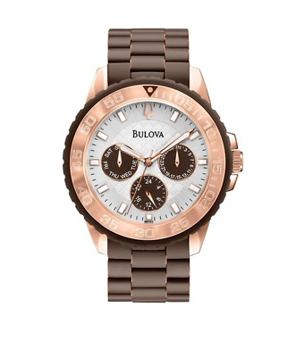 Bulova Women's Quartz Rose Gold Accents Brown Band 40mm Watch 98N103
