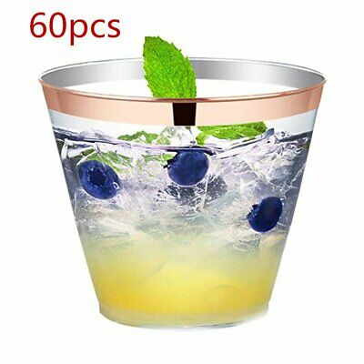 60pcs 9oz Clear Strong Plastic Short Tumblers Cups Disposable Juice Wine Whisky