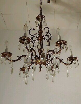 Vintage 6 Arm Brass Spanish Chandelier Beautiful patina lots of Glass Prisms